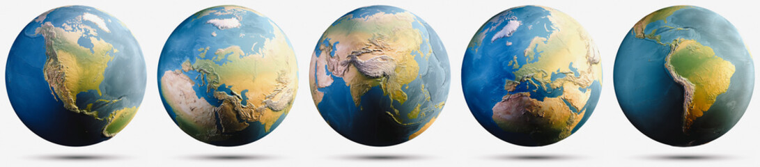 Planet Earth globe map set