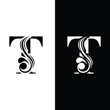 Letter T. Black And White Flow...