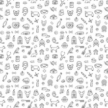 Pet Store Dogs, Cats, Birds, Other Domestic Animals Seamless Pattern