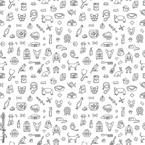 obraz lub plakat Pet store dogs, cats, birds, other domestic animals seamless pattern