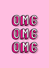 """Cartoon Comic Style Poster With Text """"OMG"""" (""""Oh My God""""). Pink Background. Vector Illustration."""