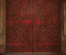 Red Forging Doors In Old Mantion