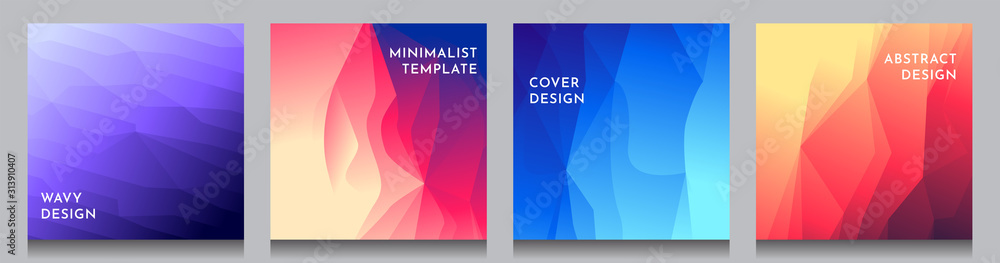 Fototapeta Abstract vector geometric triangle background. Minimalistic color gradient lines. Set of vibrant wallpapers. UI design. Polygonal covers layouts. Future concept. Social media, blog post template