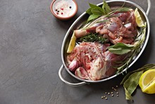 Raw Lamb Shanks With Herbs And...