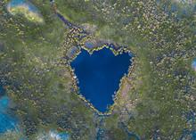 Beautiful Heart Shaped Lake In Te Anau, Southland, New Zealand