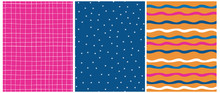 Geometric Seamless Vector Patterns. Simple White, Magenta And Blue Waves Print. Cute Hand Drawn Abstract Flowers On A Classic Blue Background. White Tiny Grid Isolated On A Pink Layout.