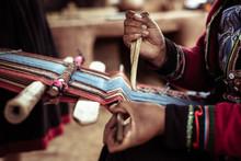 Woman Weaving Alpaca Wool With...