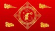 canvas print picture Red Chinese New Year background with gold rat, 3D rendering. Magical Happy new year animation.