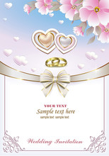Wedding Invitation With Hearts...