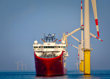 Offshore Support Vessel Ready To Deploy Walk To Work Gangway  At Wind Turbine Asset