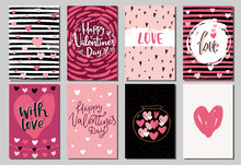 Set Of Valentine's Day Greeting Cards And Posters With Hand Drawn Hearts  And Decorative Textured Brush Strokes On Background. Happy Valentine's Day, Love You Words,vector Illustration Scandinavian St