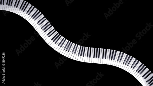 Fotografía  Wave-shaped bent musical keyboard of a piano - 3d illustration