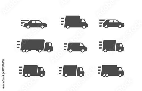 Fast delivery. Transport, transportation icon set. vector