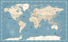 World Map Vintage Old-Style - ...