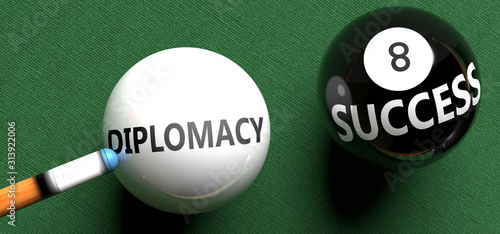 Fotografía  Diplomacy brings success - pictured as word Diplomacy on a pool ball, to symboli