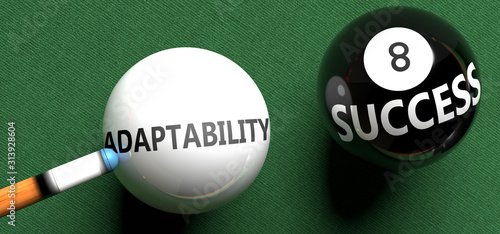 Adaptability brings success - pictured as word Adaptability on a pool ball, to s Fototapet