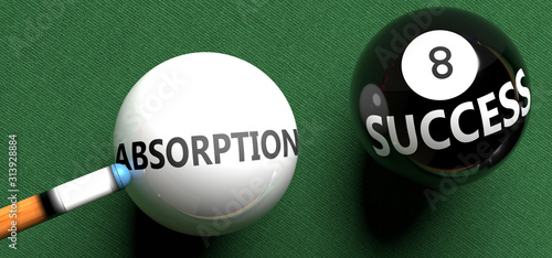 Absorption brings success - pictured as word Absorption on a pool ball, to symbo Wallpaper Mural