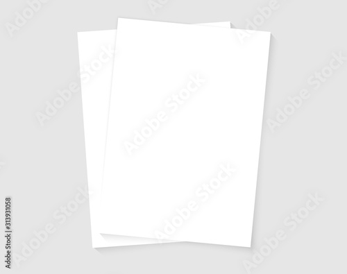 Fototapeta Paper A4 size sheets. A4 format papers. Mock up template for your design. Set of White blank paper A4 sheets with realistic shadows. obraz