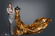 canvas print picture - Woman Evening Dress, Fashion Gown on Tailor Dummy, Elegant Gold Silver Clothes Models