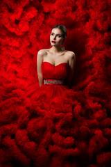 Fashion Model art Red Dress, Woman Beauty portrait, Beautiful Girl in Waves Cloth Gown