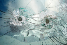 Glass With Bullet Holes Background, Car Window With Bullet Holes