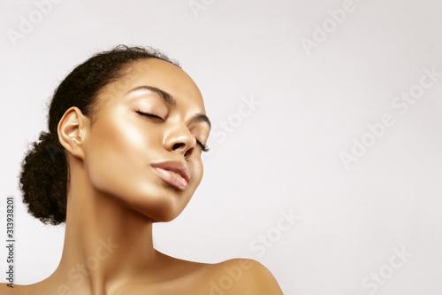 African American skincare models portrait Fotobehang