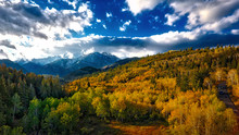 Spectacular Fall Colors Are Captured Among The Aspen Trees By Drone In The Mountains Of Utah.