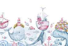 Watercolor Cute Whales, Fish, ...