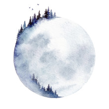 Moon Forest. A Watercolor Illu...