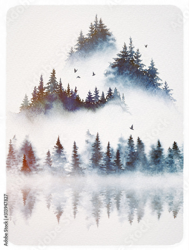 watercolor-foggy-landscape-of-a-forest-hills-and-a-lake