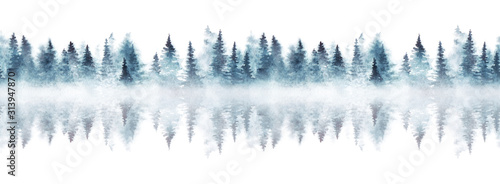 Fototapety, obrazy: Seamless pattern with foggy spruce forest reflected in a river. Watercolor fir trees isolated on white background.
