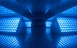 canvas print picture - 3d render, blue neon abstract background, ultraviolet light, night club empty room interior, tunnel or corridor, glowing panels, fashion podium, performance stage decorations,