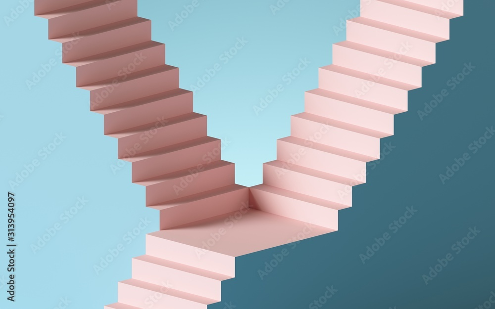 Fototapeta 3d render, abstract background with steps and staircase, in pink and blue pastel colors. Architectural design elements.
