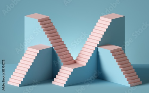 Fototapeta 3d rendering of pink staircase isolated on blue background. Blank platform. Minimal concept. Architectural design elements. obraz