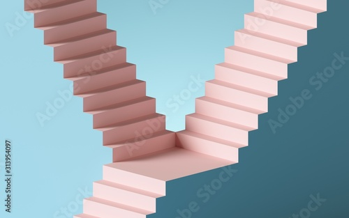 Fototapeta 3d render, abstract background with steps and staircase, in pink and blue pastel colors. Architectural design elements. obraz