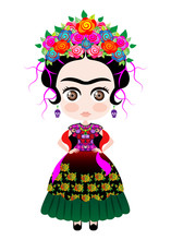 Kokeshi Doll Style, Cartoon Doll In Typical Ethnic Mexican Clothes For Children, Vector Isolated
