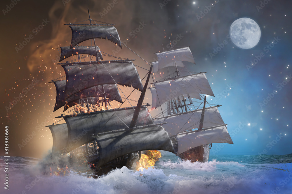 Fototapeta sea battle pirate ship 3d render