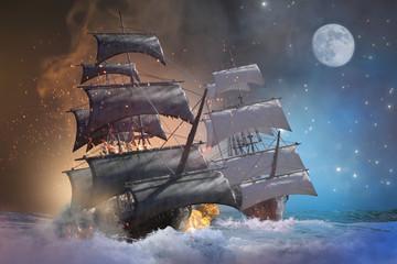 sea battle pirate ship 3d render