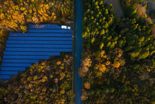 Solar Panels In Autumn Forest,...