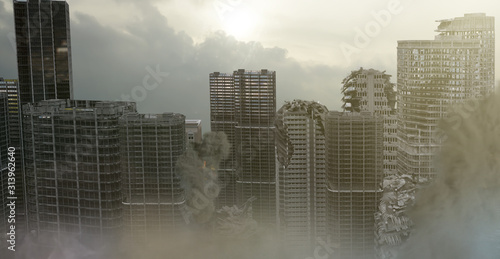 Fotografie, Obraz view of the destroyed post-apocalyptic city 3D render