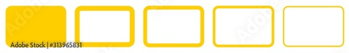 Rectangle Icon Yellow | Rounded Rectangles | Blank Box Symbol | Empty Frame Logo Wallpaper Mural