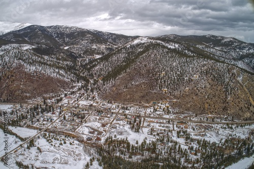 Aerial View of the Small Village of Empire hidden in the Colorado Rockies