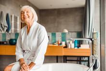 Cheerful Elderly Woman Relaxin...