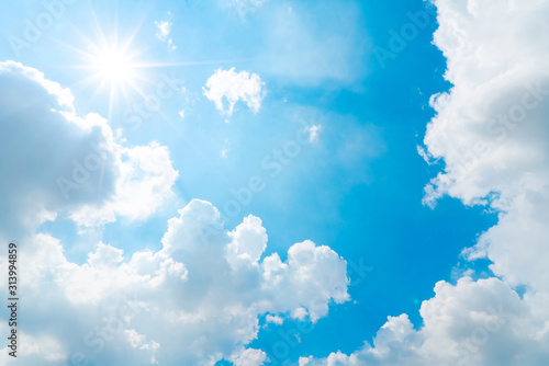 Fototapety na sufit   the-blue-summer-sky-with-white-fluffy-clouds-photo-from-window-on-the-airplane