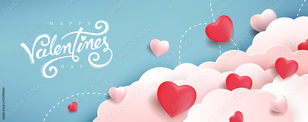 Fototapeta Valentines day background with Heart Shaped Balloons. Vector illustration.banners.Wallpaper.flyers, invitation, posters, brochure, voucher discount.