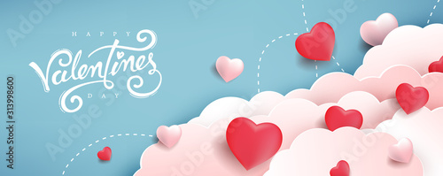 Valentines day background with Heart Shaped Balloons. Vector illustration.banners.Wallpaper.flyers, invitation, posters, brochure, voucher discount. - 313998600