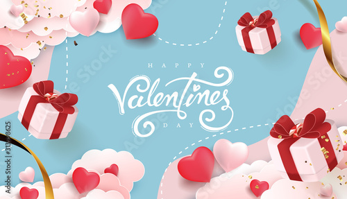Fototapeta Valentines day background with Heart Shaped Balloons and gift falling. Vector illustration.banners.Wallpaper.flyers, invitation, posters, brochure, voucher discount. obraz