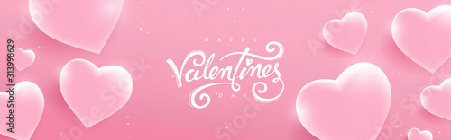 Obraz Valentines day background with Heart Shaped glass. Vector illustration.banners.Wallpaper.flyers, invitation, posters, brochure, voucher discount. - fototapety do salonu