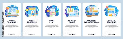 Fototapeta Healthcare mobile app, sport training, diet and personal goals. Mobile app onboarding screens. Menu vector banner template for website and mobile development. Web site design flat illustration obraz