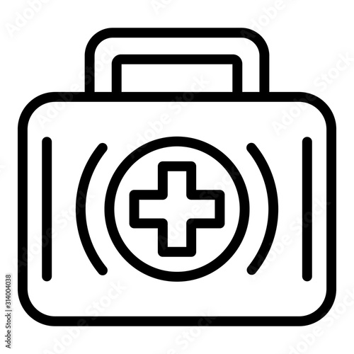 First aid kit icon. Outline first aid kit vector icon for web design isolated on white background Fotomurales